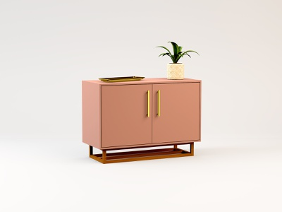 Pink Cabinet woodworking apartment decor modern midcentury c4d 3d furniture cabinet pink