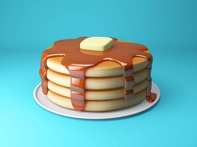 Pancakes ihop breakfast butter pancakes maple syrup dessert cute model c4d food 3d