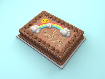Sheet Cake - Decorating mistake sugar sweets cake cute dessert model food c4d 3d