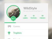 Profil/menu widget