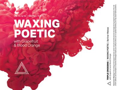 Waxing Poetic | Grapefruit Blood Orange ⟁ Triple Crossing craft beer beer label brewery packaging can triple crossing beer