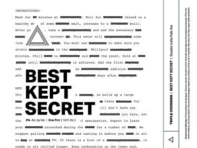 Best Kept Secret ⟁ Triple Crossing branding craft beer beer label brewery packaging can triple crossing beer