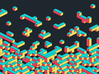Code Blocks tetris bricks isometric code blocks