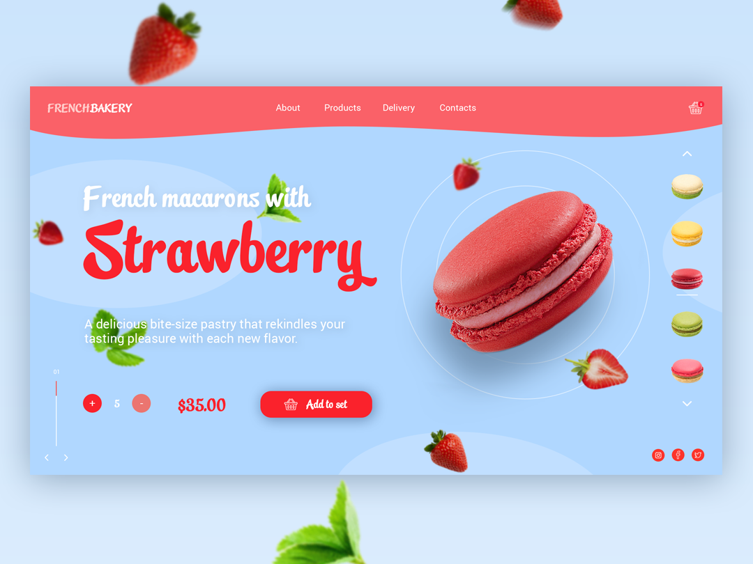 Concept with a very tasty french dessert. uidesign ux  ui uiux ux website webdesign web ui mainpage design