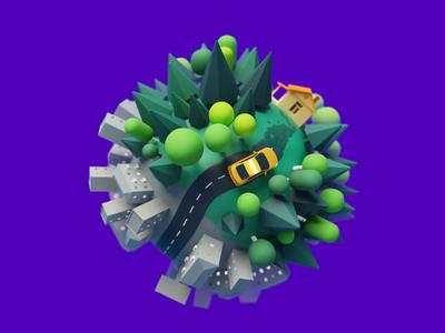 Discount activity taxi city planet blender b3d blender3d citymobil 3d animation illustration