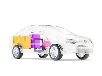 Delivery service luggage delivery taxi illustration citymobil city blender b3d