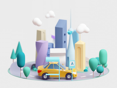 Wheel of fortune bird taxi planet illustration citymobil city blender3d 3d animation