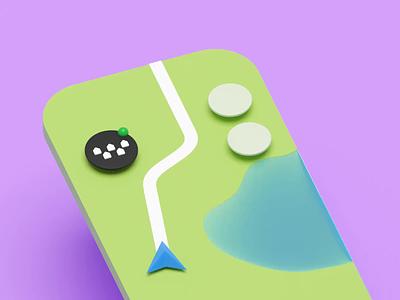 Floating button navigation map c4d cinema4d blender3d 3d animation taxi illustration blender b3d citymobil