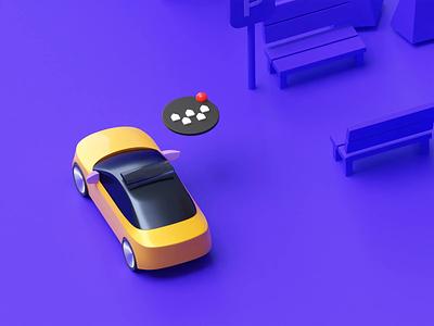 Floating button - 2 button city b3d 3d animation blender illustration citymobil