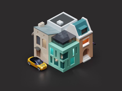 Delivery. Dark theme app delivery town cinema4d c4d blender 3d animation taxi city citymobil