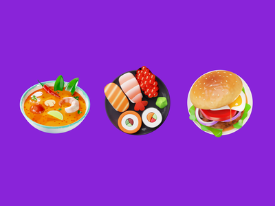 Dishes sushi burger tom yum food delivery taxi illustration citymobil blender b3d