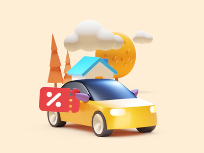 Discounted from home car house home discount illustration cinema4d c4d b3d city taxi citymobil