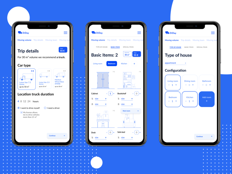 DiDay. Mobile. app interface cards ux ui illustration embacy minimal design clean