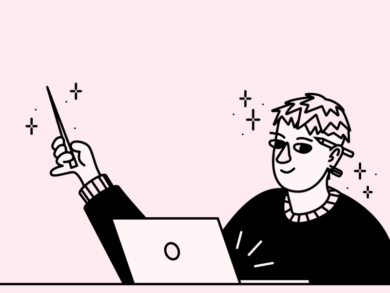 illustration for article (1) teach laptop clean woman embacy article figma vector illustration blackandwhite line pink character