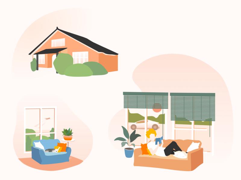 Windows Republic. Illustrations. website window house dog character colorful embacy vector illustrator figma illustration