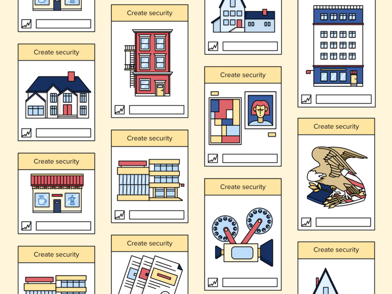Bankex. Illustrations figma vector illustration minimal embacy design camera icon house usa website monopoly cards