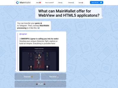 MainWallet. Landing page.