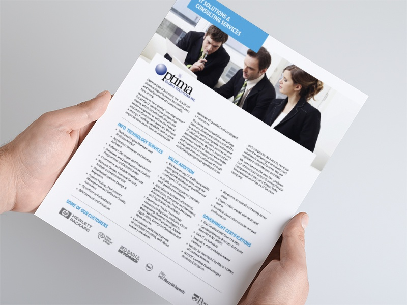 Optima Corporate Brochure corporate brochure corporate brochure layout one page