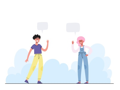 Hi! Social distancing concept greeting keep distance website modern illustration covid19 social concept social distancing social distance vector illustration cartoon flat character