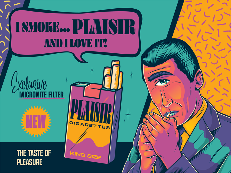 Plaisir Ad cigarette ad tobacco advertising color surrealism psychedelic art design illustration type retro vintage typography vector