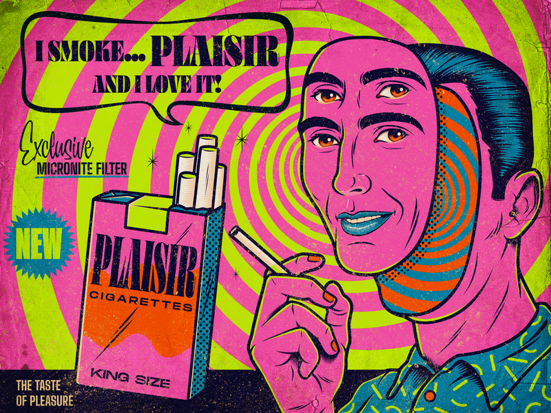 Plaisir Ad ad tobacco industry cigarette weird bizarre color advertising surrealism psychedelic art design illustration retro vintage vector