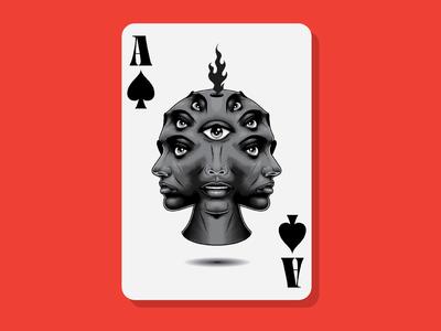 Ace of Spades dark black surrealism psychedelic art design illustration vintage lettering typography vector