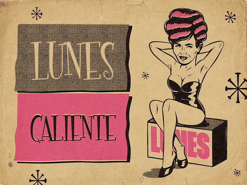 Lunes Caliente sexy girl sexy pinup art design illustration retro vintage vector