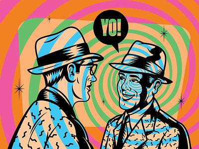 YO BRO! gentlemen figurative human people surrealism vector psychedelic art design illustration retro vintage