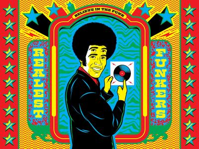 Believe in the FUNK! seventies disco groove music funk surrealism psychedelic art type design illustration retro vintage vector