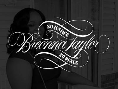 Breonna Taylor spencerian flourish script art design type typography lettering vector