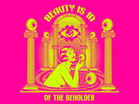 Beauty is in the eye of the beholder surrealism illustration psychedelic art design retro vintage vector