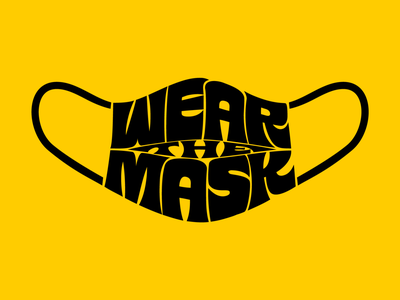 WEAR THE MASK logotype branding logo pandemic covid19 mask art design type illustration retro vintage lettering typography vector