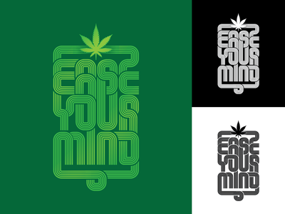 Ease Your Mind maconha groove funky disco logotype hemp thc cannabis marijuana branding logo psychedelic art design type illustration lettering typography vector