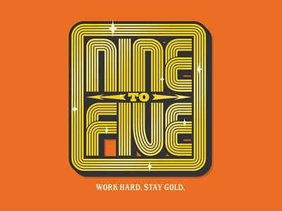 Nine to Five font typeface branding logo art design type illustration lettering typography vector