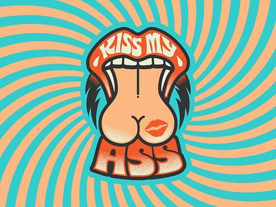 KMA Logo curse subversive logotype logo 1970s seventies ass kiss surrealism psychedelic art design type illustration retro vintage typography vector