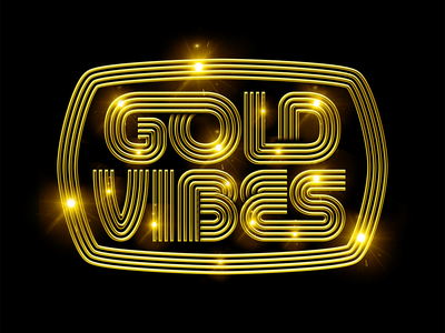 GOLD VIBES 70s shine gold seventies art design type illustration retro vintage lettering typography vector