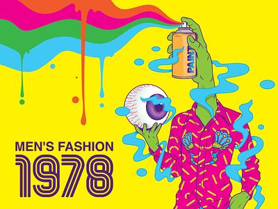 Men's fashion 1978 seventies man swag fashion color surrealism psychedelic art design illustration retro vintage vector