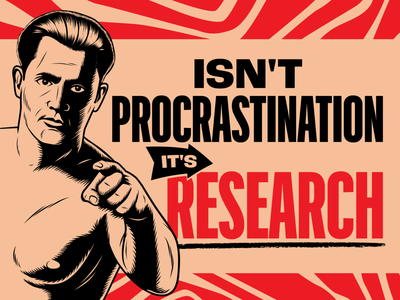 No Procrastination! digital art art design illustration retro vintage vector