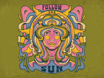 Follow the Sun Psychedelic Art human woman sun surrealism psychedelic art design illustration retro vintage