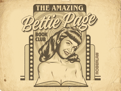 Bettie Page Book Club pinup girl bettie page pinup surrealism art design retro vintage illustration