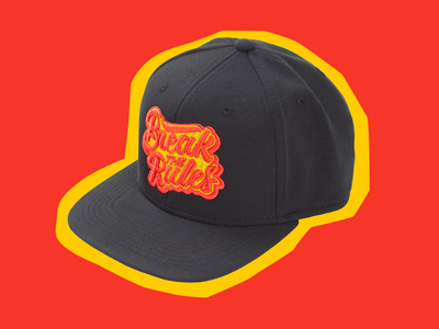 Break the Rules Snapback logo snapback hat fashion swag rebel psychedelic art design type lettering typography vector