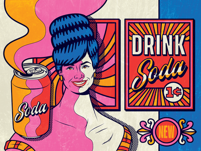 Drink Soda Pop woman trippy sixties pop art surrealism art psychedelic design illustration retro vintage vector