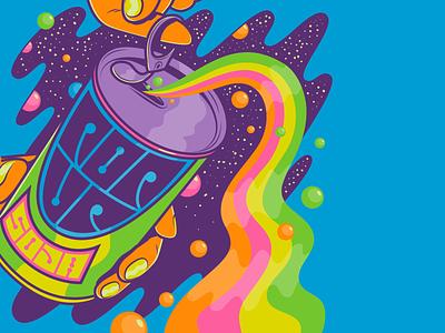 Pop up Soda vector color surrealism psychedelic art design illustration retro vintage lettering