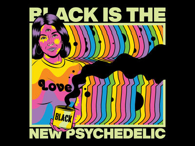 Black Psychedelic chromatic aberration rainbow flower power sixties 60s woman groovy funky trippy hippie black color surrealism psychedelic art design illustration retro vintage vector