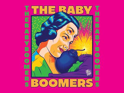 The Baby Boomers pop art propaganda bomb war surrealism psychedelic art design illustration retro vintage vector