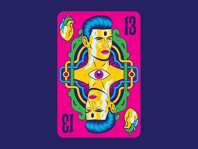 The King of Hearts love coração heart pop art poker playing card surrealism psychedelic art design illustration retro vintage