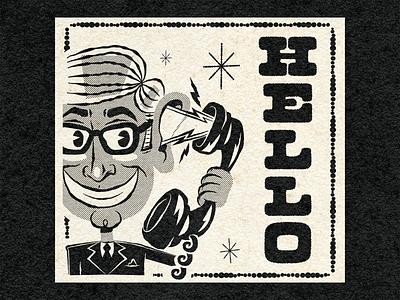 HELLO! cartoon character advertising cartoon friendship telephone people art design illustration retro vintage vector