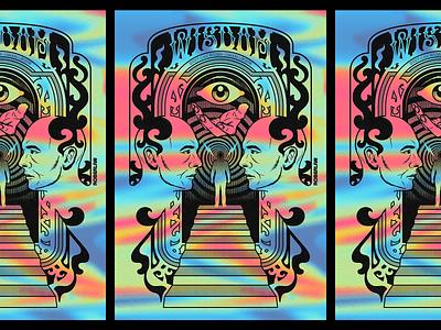 Wisdom mind human wisdom psychonaut fantasy digitalart surrealism psychedelic art design type illustration lettering typography retro vintage vector