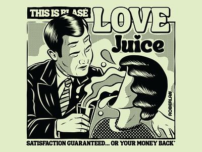 Love Juice couple illustration bizarre weird love couple art surrealism psychedelic design illustration retro vintage vector