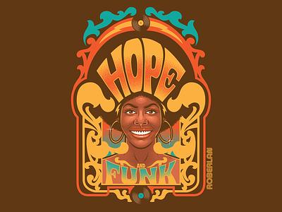 Hope N' Funk art nouveau art deco african woman black woman afro hope groovy funky funk surrealism psychedelic art design retro vintage typography illustration vector